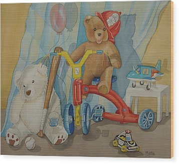 Teddy On A Bike Wood Print