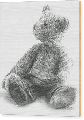 Wood Print featuring the drawing Teddy Study by Meagan  Visser