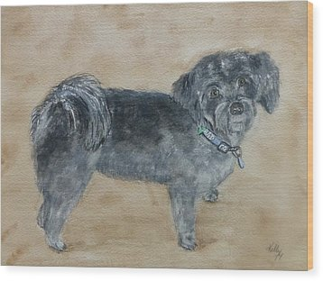 Wood Print featuring the painting Maltese Puppy  by Kelly Mills