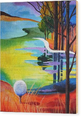 Tee Off Mindset- Golf Series Wood Print by Betty M M   Wong