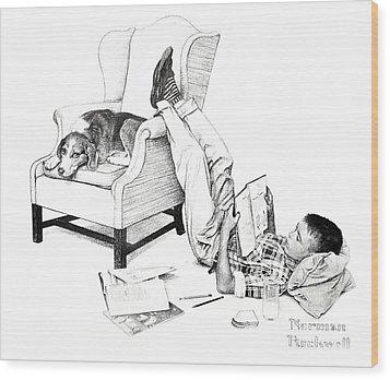 Teenager Studying Wood Print by Susan Leggett