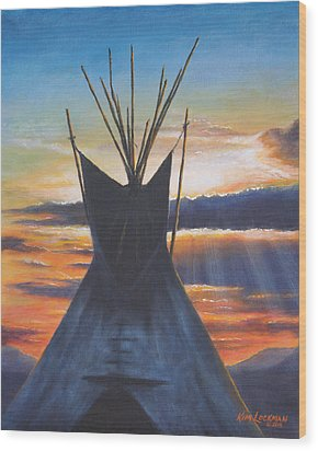 Wood Print featuring the painting Teepee At Sunset Part 1 by Kim Lockman