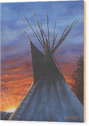 Teepee At Sunset Part 2 Wood Print