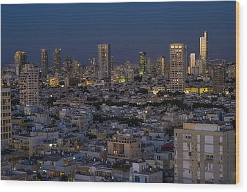 Wood Print featuring the photograph Tel Aviv At The Twilight Magic Hour by Ron Shoshani
