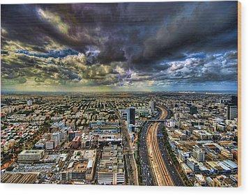 Tel Aviv Blade Runner Wood Print by Ron Shoshani
