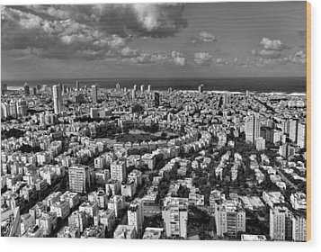 Wood Print featuring the photograph Tel Aviv Center Black And White by Ron Shoshani