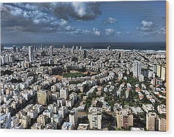 Wood Print featuring the photograph Tel Aviv Center by Ron Shoshani