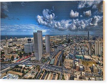 Wood Print featuring the photograph Tel Aviv Center Skyline by Ron Shoshani
