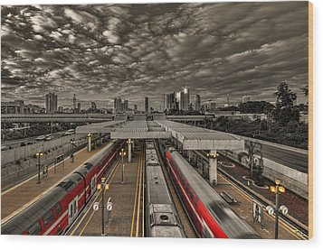 Wood Print featuring the photograph Tel Aviv Central Railway Station by Ron Shoshani