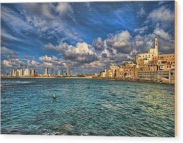 Wood Print featuring the photograph Tel Aviv Jaffa Shoreline by Ron Shoshani