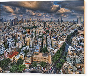 Wood Print featuring the photograph Tel Aviv Lookout by Ron Shoshani