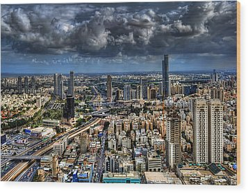 Tel Aviv Love Wood Print by Ron Shoshani