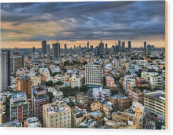 Wood Print featuring the photograph Tel Aviv Skyline Winter Time by Ron Shoshani