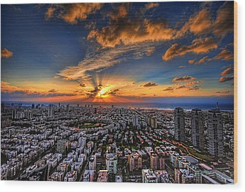 Wood Print featuring the photograph Tel Aviv Sunset Time by Ron Shoshani