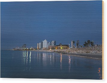 Wood Print featuring the photograph Tel Aviv The Blue Hour by Ron Shoshani