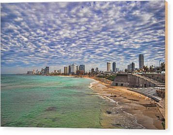Wood Print featuring the photograph Tel Aviv Turquoise Sea At Springtime by Ron Shoshani