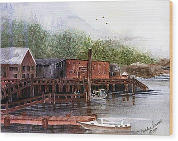 Telegraph Cove Wood Print by Meldra Driscoll