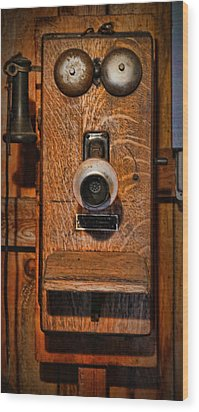 Telephone - Antique Wall Telephone Wood Print by Lee Dos Santos