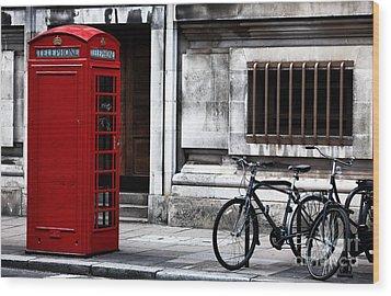 Telephone In London Wood Print by John Rizzuto