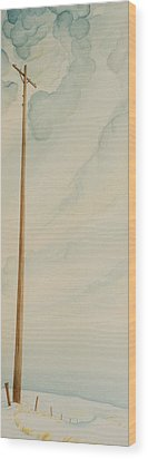 Wood Print featuring the painting Telephone Pole by Scott Kirby
