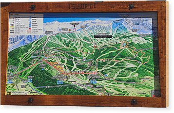 Telluride Ski Map Detail  Wood Print