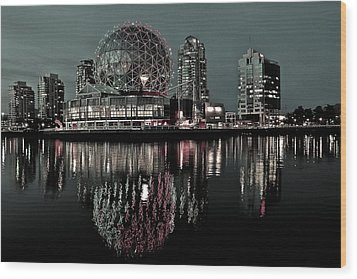 Telus World Of Science Wood Print by Brian Chase
