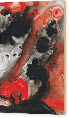 Tempest - Red And Black Painting Wood Print by Sharon Cummings