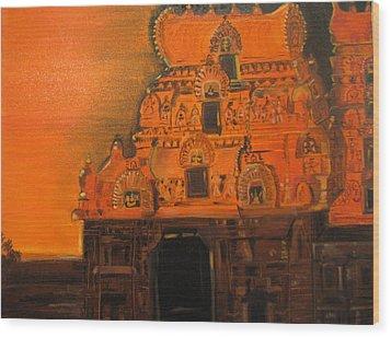Temple At Dawn Wood Print