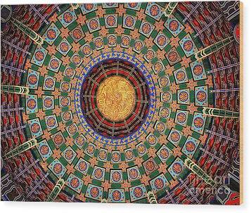 Wood Print featuring the photograph Temple Ceiling by Lisa L Silva