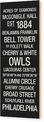 Temple Colege Town Wall Art Wood Print by Replay Photos