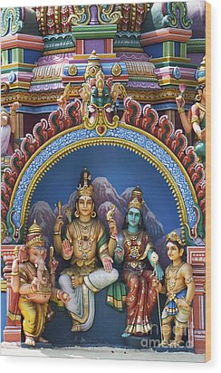 Temple Deity Statues India Wood Print by Tim Gainey