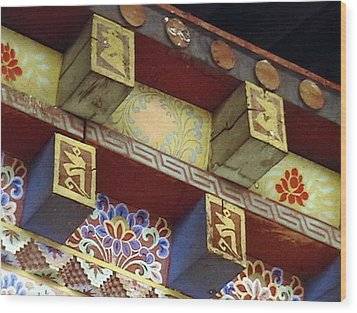 Wood Print featuring the painting Temple In Bhutan by Patrick Morgan