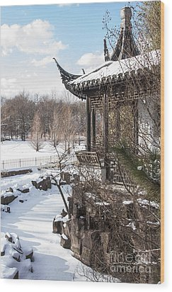 Wood Print featuring the photograph Temple In Snow by Vicki DeVico
