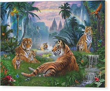 Temple Lake Tigers Wood Print by Jan Patrik Krasny