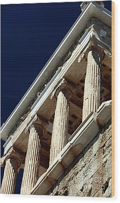 Temple Of Athena Nike Columns Wood Print by John Rizzuto