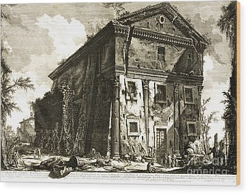 Temple Of Bacchus Rome 1746 Wood Print by Padre Art