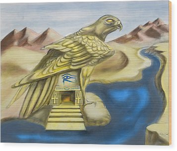 Temple Of Horus One Of Three Wood Print by Michael Cook