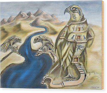 Temple Of Horus Three Of Three Wood Print by Michael Cook