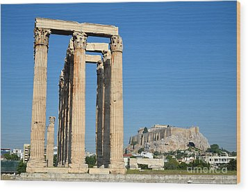 Temple Of Olympian Zeus And Acropolis In Athens Wood Print by George Atsametakis