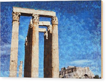 Temple Of Olympian Zeus And Acropolis Wood Print by George Atsametakis