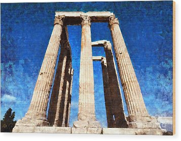 Temple Of Olympian Zeus  Wood Print by George Atsametakis