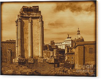 Temple Of Vesta Wood Print