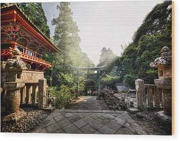 Temple Pathway Wood Print
