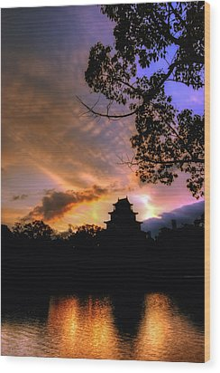 A Temple Sunset Japan Wood Print by John Swartz