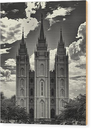 Temple Square Black And White Wood Print by Joshua House