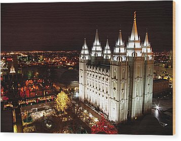 Temple Square Wood Print by David Andersen