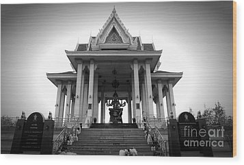 Temple Steps Wood Print by Thanh Tran