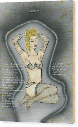 Temptation Two. Wood Print by Kenneth Clarke