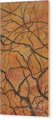 Wood Print featuring the painting Tenacious by Jane Chesnut