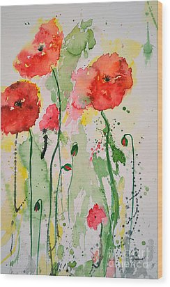 Wood Print featuring the painting Tender Poppies - Flower by Ismeta Gruenwald